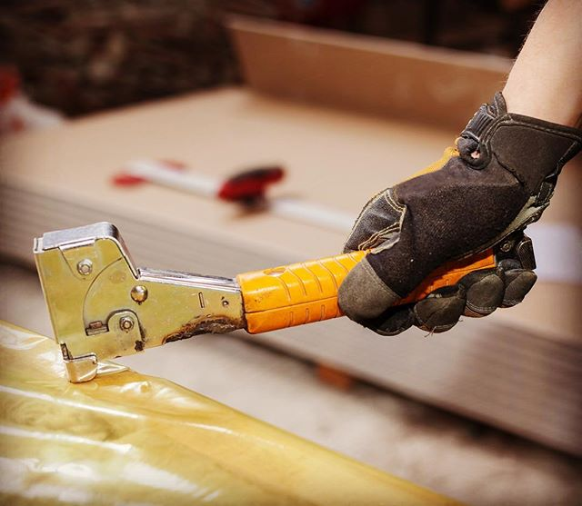 "4 Reasons Why You Should Use A Hammer Tacker 1. They're fast. 2. Your hands won't get tired from squeezing a manual staple gun. 3. You can tackle #roofing, #carpeting, and projects. 4.  You can say, ""It's time."" Click the link in our profile to take a look at our beauties!"