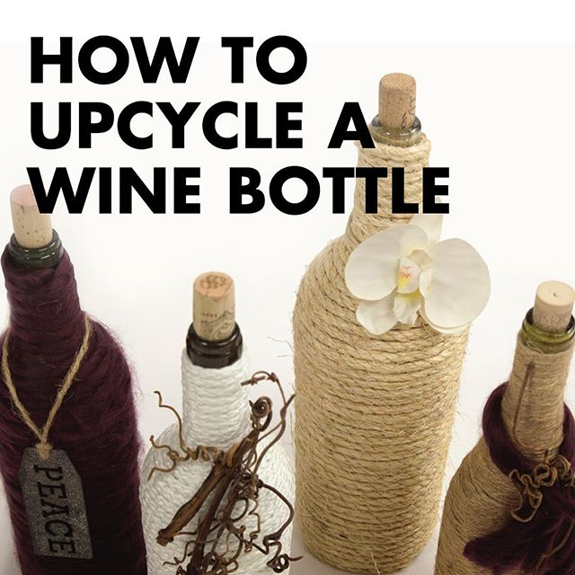 How To Transform A Wine Bottle Into a Rustic Vase: First, clean the bottle to get rid of any odors. Second, cut about 12-15 inches of thick twine or rope. Slowly wind the rope around, gluing as you go with Arrow's MT300 Mini Glue Gun. Click the link in our profile for the full tutorial!