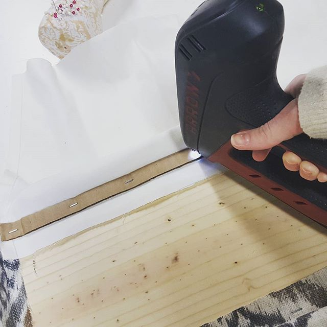 Tip of the day: How do you get a nice crisp fold to your last layer when creating a cornice board? Staple down strips of cardboard, it will sandwich down the layers and create a clean line for the fabric to pull against for a beautiful finish.