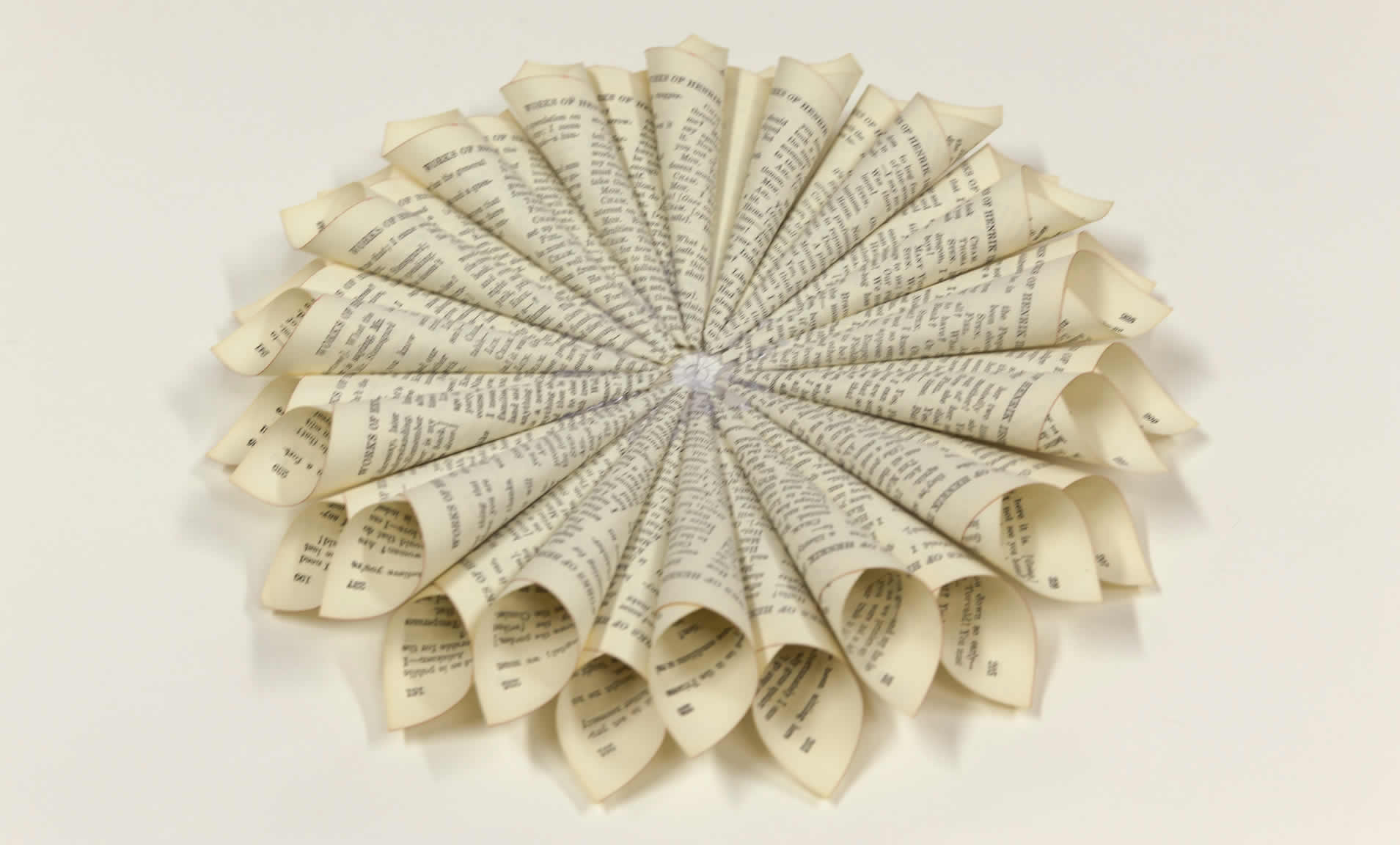 Repurpose an old book into a book page wreath