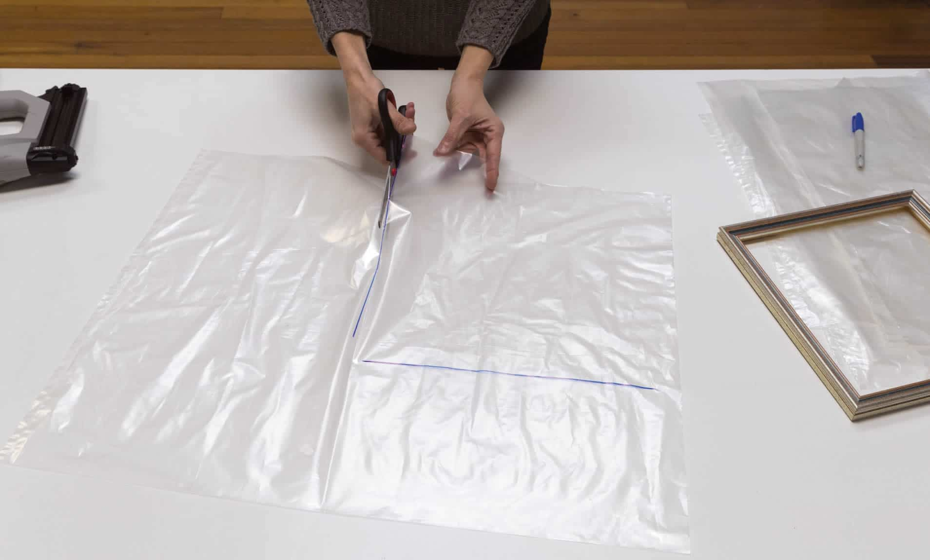 step 1a - create mini indoor greenhouse - cutting out 6 pieces of plastic