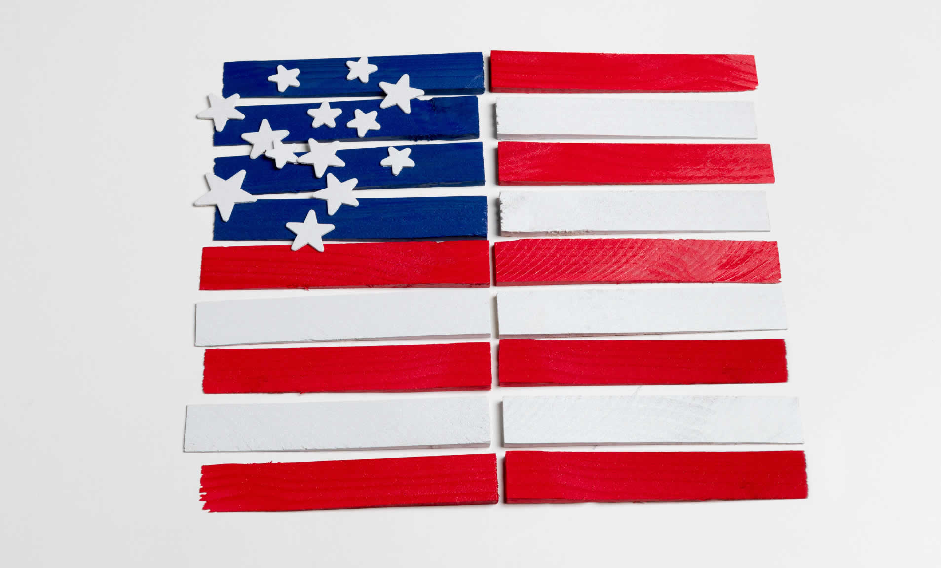 wooden american flag steps