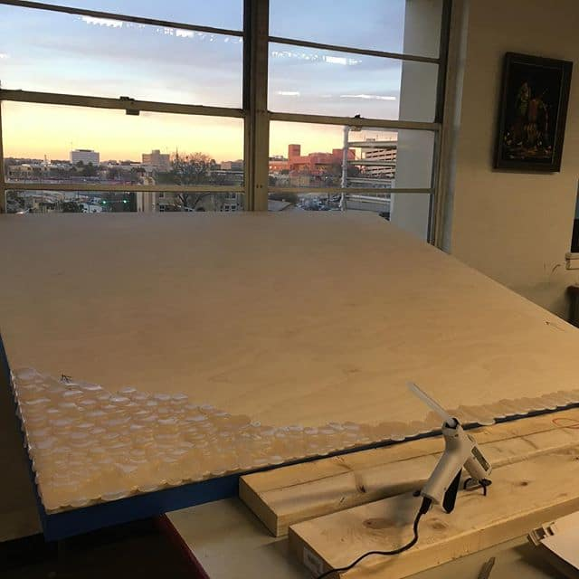Putting in work at the studio and had to take a moment to enjoy the San Antonio sunset. Getting these large panels ready for my next opening at @ArtPace in March.