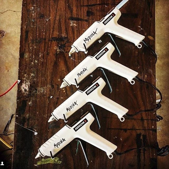 "Shoutout to artist @alamobasementsa, who shared a pic of his ""new fleet"" of TR550 All Purpose Glue Guns that he uses as part of his mixed-media art! Use to share your tool and project pics with us, and you could be featured next! . . . . . . . . ."