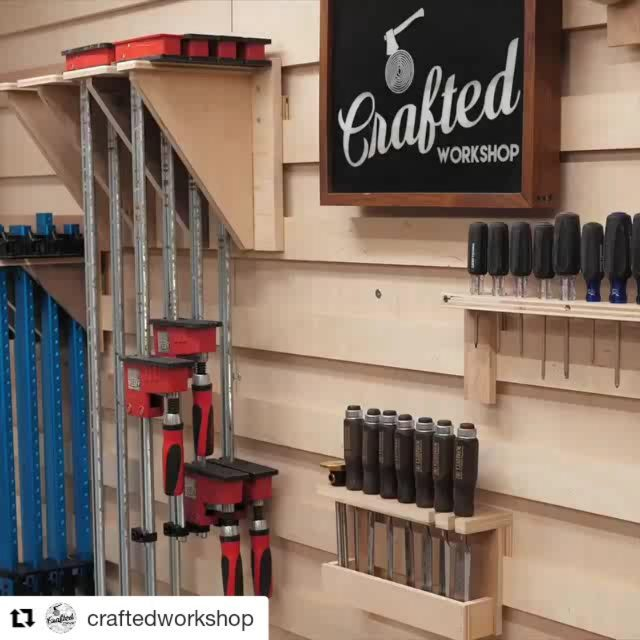 I am totally going to build a French cleat wall for my classroom. @craftedworkshop (@get_repost) ・・・ This week's project video (link in bio) is a much needed shop organization build, my new wall! This not only looks better than the pegboard, it's also a lot more flexible. Built with my @arrowfastener brad nailer, enjoy!