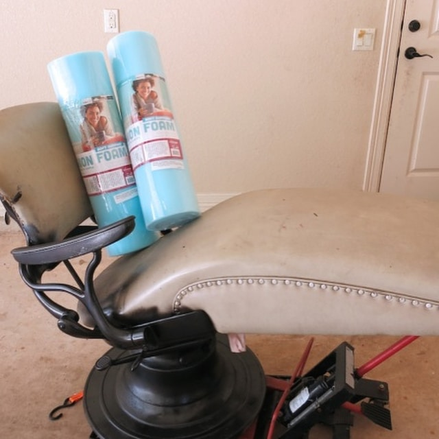 Here's what this vintage dentist chair looked like when I got it. Swipe to see what it looks like now! Groovy furniture flip!